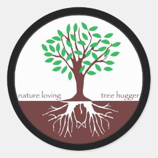 Nature Loving Tree Hugger Classic Round Sticker