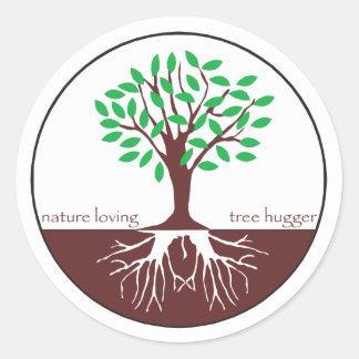 Nature Loving Tree Hugger Round Stickers