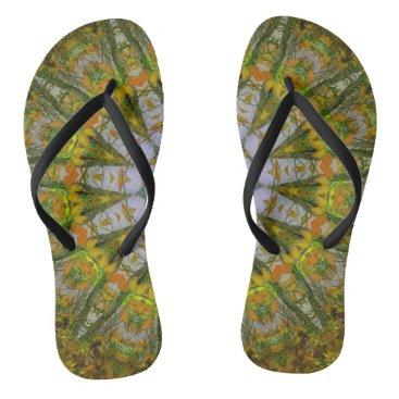 Beach Themed Nature Mandala Slim Straps Flip Flops
