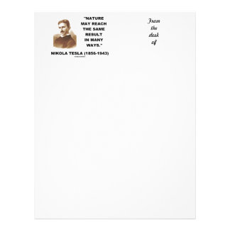 Nature May Reach Same Result In Many Ways (Tesla) Letterhead