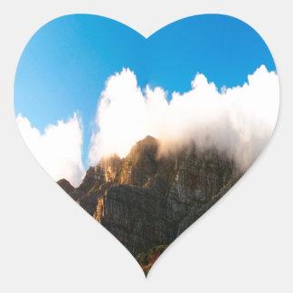Nature Mountain Sunlit Tops Heart Sticker