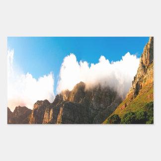 Nature Mountain Sunlit Tops Rectangular Sticker