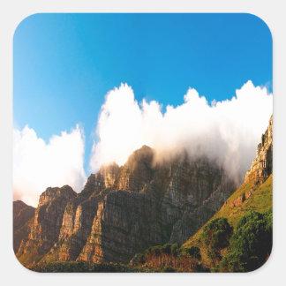 Nature Mountain Sunlit Tops Square Sticker