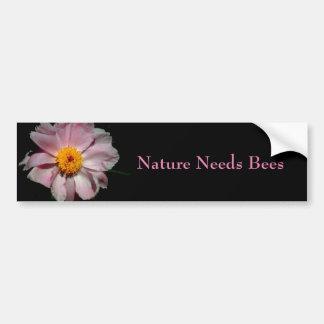 Nature Needs Bees Pink Flower Bumper Sticker