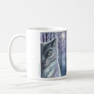 """Nature Nights Wolf & Snowy Owl"" Original Art Mug. Coffee Mug"