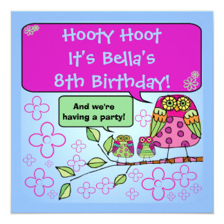 Nature Owl Birthday Customized Invites