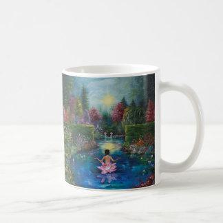 Nature painting - lotus garden lady mugs