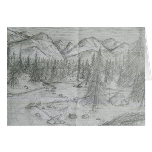 Nature Pencil Drawing Card