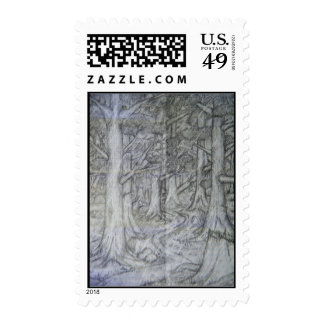Nature Pencil Drawing Postage Stamp