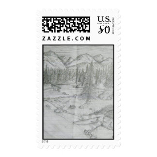 Nature Pencil Mountain Drawing Postage Stamp