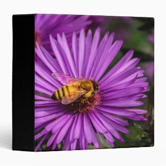 Nature Photo of a Bumble Bee on a Flower 3 Ring Binder
