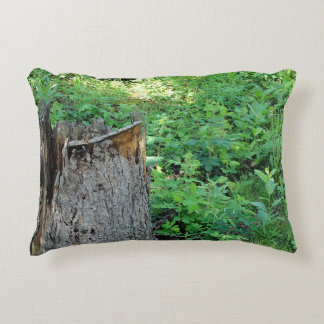 Nature Photography   Broken Spruce Tree Stump Accent Pillow