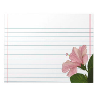 Nature Photography Pink Hibiscus Closeup Photo Notepad