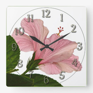 Nature Photography Pink Hibiscus Closeup Photo Square Wall Clock