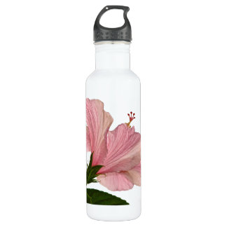 Nature Photography Pink Hibiscus Closeup Photo Water Bottle