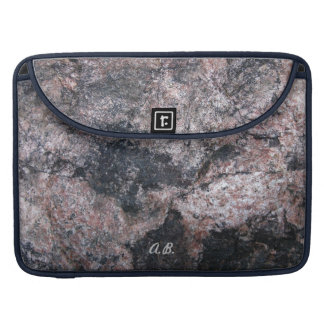 Nature Pinkish Rock Texture with Initials Sleeve For MacBook Pro