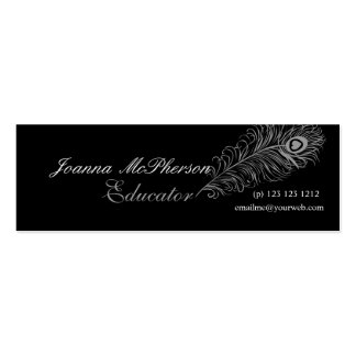 Nature Plumes Peacock Feather Gray Mini Business Card