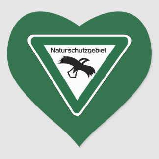 Nature Protection Area Sign, Germany Heart Sticker