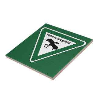 Nature Protection Area Sign, Germany Small Square Tile