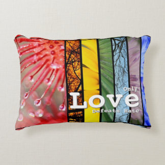 Nature Rainbow LGBT Pride Symbol Love Defeats Hate Accent Pillow