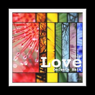 Nature Rainbow LGBT Pride Symbol Love Defeats Hate Canvas Print