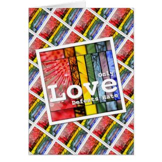 Nature Rainbow LGBT Pride Symbol Love Defeats Hate Card