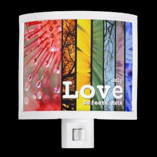 Nature Rainbow LGBT Pride Symbol Love Defeats Hate Night Light