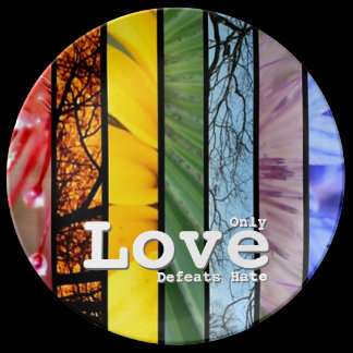 Nature Rainbow LGBT Pride Symbol Love Defeats Hate Plate