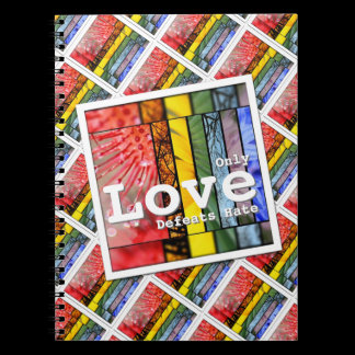 Nature Rainbow LGBT Pride Symbol Love Defeats Hate Spiral Notebook