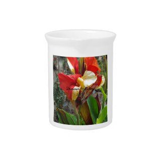 Nature Red Flower Floral Photography Drink Pitcher