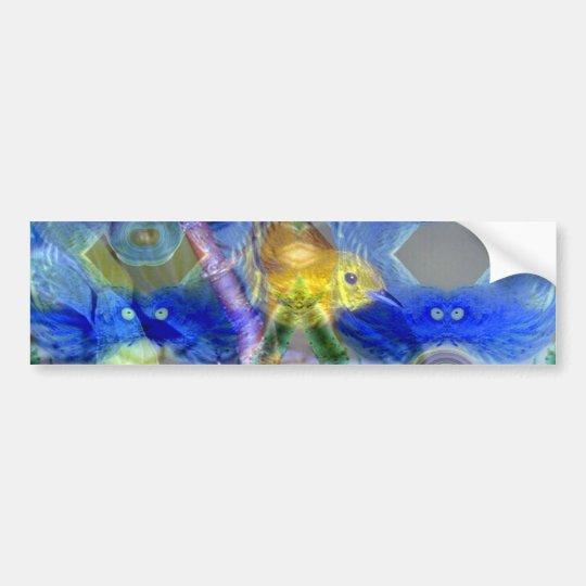 Nature Reflections I - Gold & Blue Birds Bumper Sticker