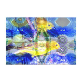 Nature Reflections I - Gold & Blue Birds Canvas Print