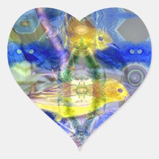 Nature Reflections I - Gold & Blue Birds Heart Sticker