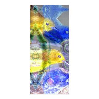 "Nature Reflections I - Gold & Blue Birds 4"" X 9.25"" Invitation Card"