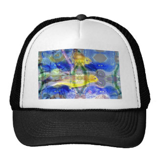 Nature Reflections I - Gold & Blue Birds Mesh Hat
