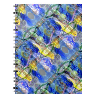 Nature Reflections I - Gold & Blue Birds Spiral Note Book
