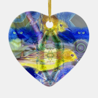 Nature Reflections I - Gold & Blue Birds Christmas Ornament