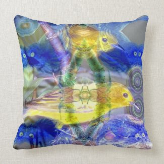 Nature Reflections I - Gold & Blue Birds Throw Pillows