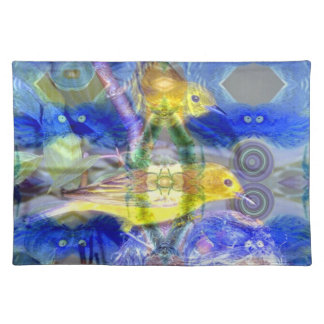 Nature Reflections I - Gold & Blue Birds Place Mat