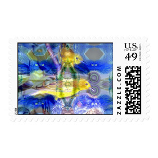 Nature Reflections I - Gold & Blue Birds Postage Stamps
