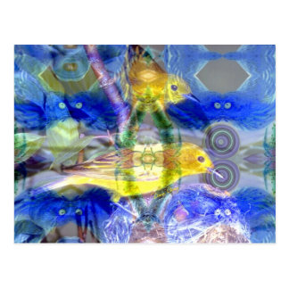 Nature Reflections I - Gold & Blue Birds Postcard