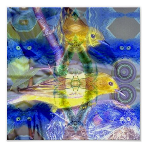 Nature Reflections I - Gold & Blue Birds Poster