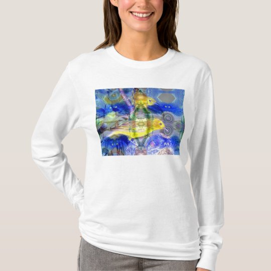 Nature Reflections I - Gold & Blue Birds T-Shirt