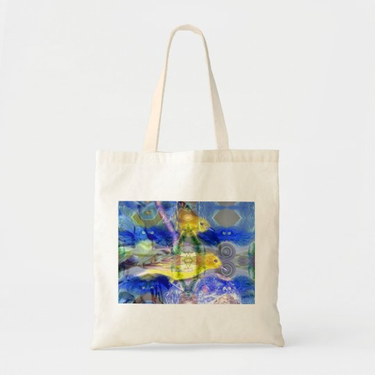 Nature Reflections I - Gold & Blue Birds Tote Bag
