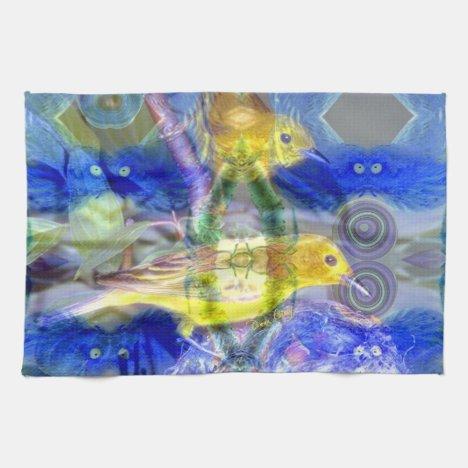 Nature Reflections I - Gold & Blue Birds Towel