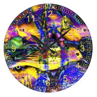 Nature Reflections II - Abstract Violet Gold Birds Wallclocks