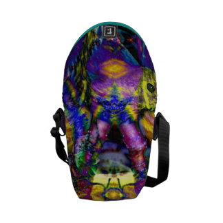Nature Reflections II Abstract Violet Gold Birds Messenger Bag