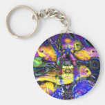Nature Reflections II - Violet & Gold Birds Keychain