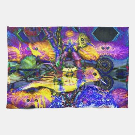 Nature Reflections II - Violet & Gold Birds Kitchen Towel