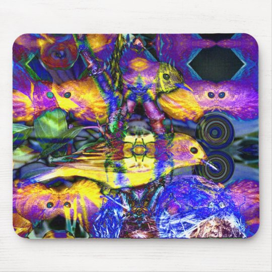 Nature Reflections II - Violet & Gold Birds Mouse Pad